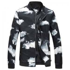 Slim Fit Zip Up Printed Jacket