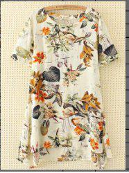 Linen Blend Printed Plus Size Tunic Dress