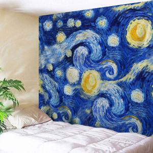 Oil Painting Galaxy Wall Decor Hanging Tapestry - Blue - W59 Inch * L79 Inch