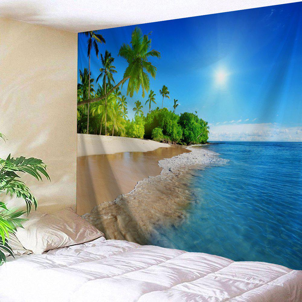 Beach Landscape Bedroom Decoration Wall TapestryHOME<br><br>Size: W71 INCH * L91 INCH; Color: LAKE BLUE; Style: Beach Style; Theme: Landscape; Material: Polyester; Feature: Removable,Washable; Shape/Pattern: Print; Weight: 0.3800kg; Package Contents: 1 x Tapestry;