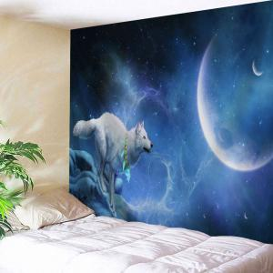Moonlight Wolf Printed Wall Hanging Tapestry