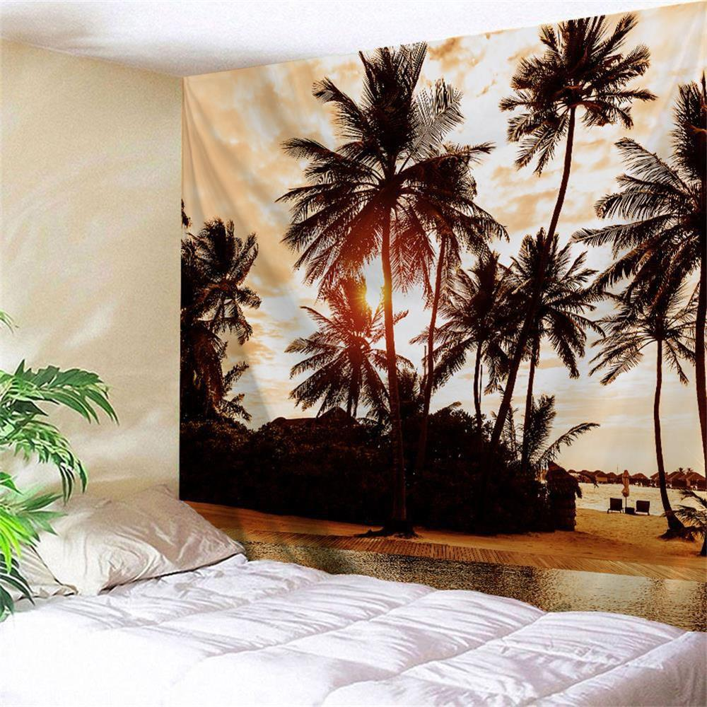 Sunset Palm Tree Wall Hanging Decoration TapestryHOME<br><br>Size: W59 INCH * L59 INCH; Color: LIGHT BROWN; Style: Beach Style; Theme: Landscape; Material: Polyester; Feature: Removable,Washable; Shape/Pattern: Print; Weight: 0.2300kg; Package Contents: 1 x Tapestry;