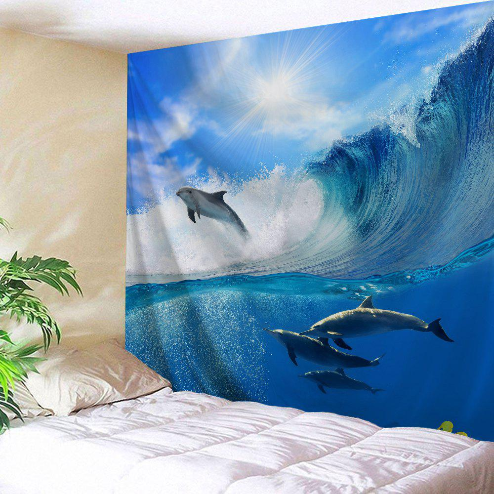 Captivating Fancy Surfing Dolphin Bedroom Decor Wall Hanging Tapestry
