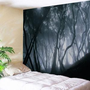 Mist Forest Wall Hanging Tapestry For Bedroom - Black Grey - W71 Inch * L91 Inch