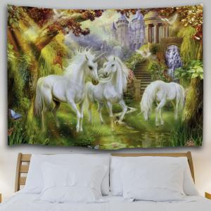 Unicorn Fairyland Printed Wall Art Tapestry -