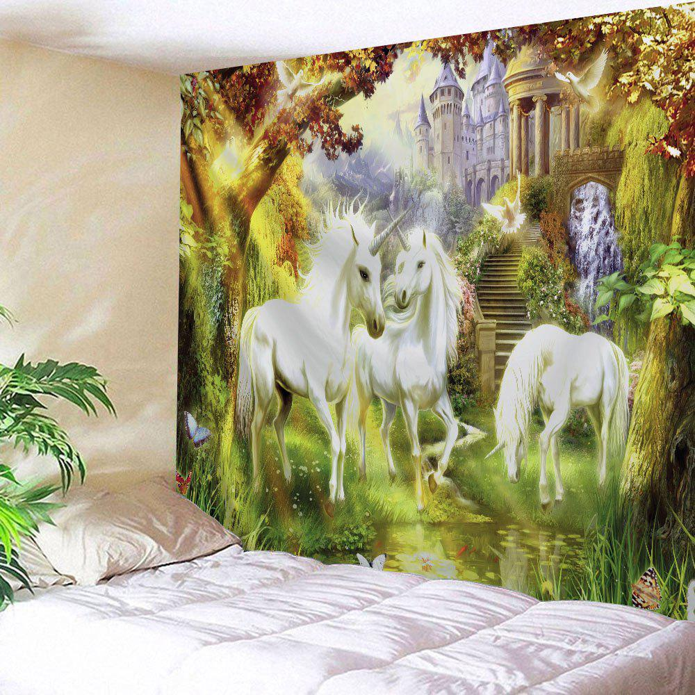 Unicorn Fairyland Printed Wall Art TapestryHOME<br><br>Size: W71 INCH * L91 INCH; Color: COLORMIX; Style: Romantic; Theme: Animals,Fairytale Theme; Material: Polyester; Feature: Removable,Washable; Shape/Pattern: Print; Weight: 0.3800kg; Package Contents: 1 x Tapestry;