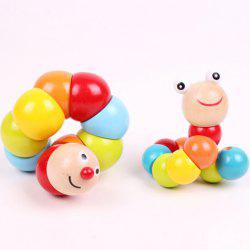 1PC Lovely Caterpillar Pattern Twist Wooden Toy for Kids -