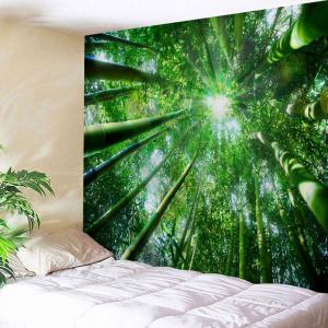 Bamboo Forest Print Wall Art Hanging Tapestry - Green - W71 Inch * L91 Inch