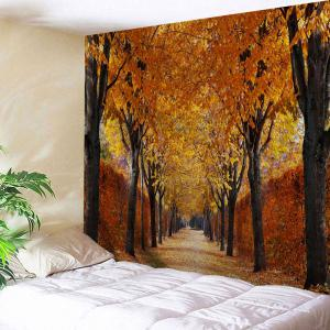 Autumn Grove Scenery Fabric Wall Art Tapestry - Gold Brown - W71 Inch * L91 Inch