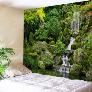 Mountain Falls Print Tapestry Wall Hanging Art Decoration - Green - W71 Inch * L91 Inch
