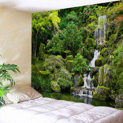 Mountain Falls Print Tapestry Wall Hanging Art Décoration - Vert