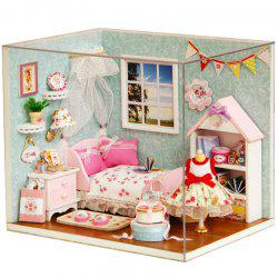 DIY Pretend Play Princess Bedroom Wooden Dollhouse Avec Led Light - Multicolore