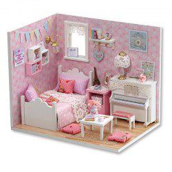 DIY Miniature Pretend Play Princess Bedroom Wooden Dollhouse with LED Light -