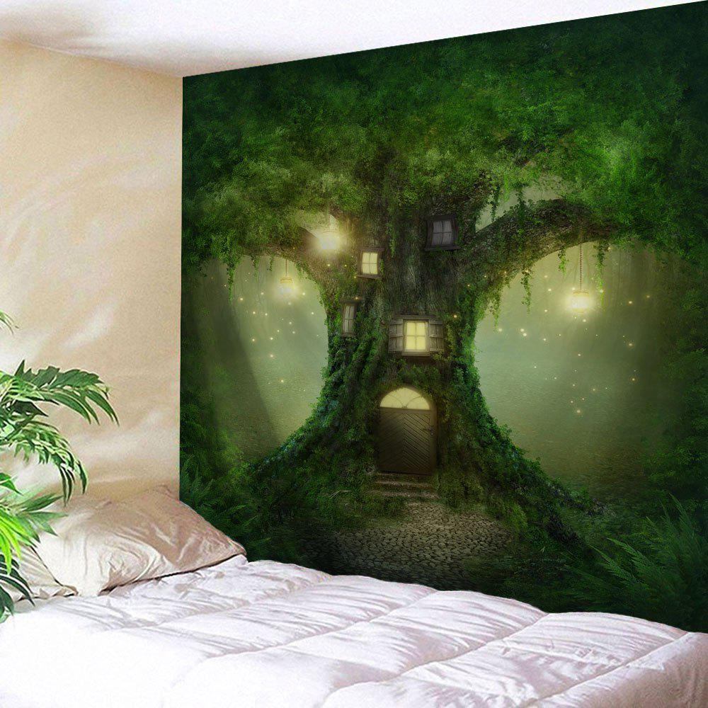 Fairy Tree Home Decoration Wall Hanging TapestryHOME<br><br>Size: W71 INCH * L91 INCH; Color: GREEN; Style: Natural; Theme: Fairytale Theme; Material: Polyester; Feature: Removable,Washable; Shape/Pattern: Print; Weight: 0.3800kg; Package Contents: 1 x Tapestry;