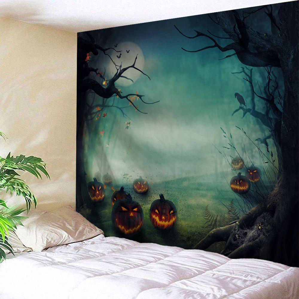 Halloween Pumpkins Print Tapestry Wall Hanging Art DecorationHOME<br><br>Size: W71 INCH * L91 INCH; Color: COLORMIX; Style: Festival; Theme: Halloween; Material: Polyester; Feature: Washable; Shape/Pattern: Plant; Weight: 0.4000kg; Package Contents: 1 x Tapestry;