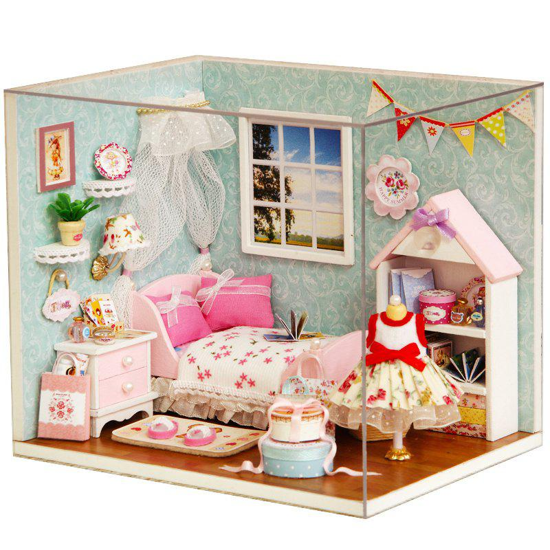 DIY Pretend Play Princess Bedroom Wooden Dollhouse Avec Led Light Multicolore