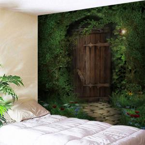 Trees Wood Door Print Tapestry Wall Hanging Art Decoration - Green - W71 Inch * L91 Inch