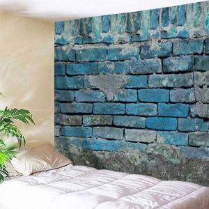 Vintage Brick Wall Print Tapestry Wall Hanging Art Decor - Lake Blue - W71 Inch * L91 Inch
