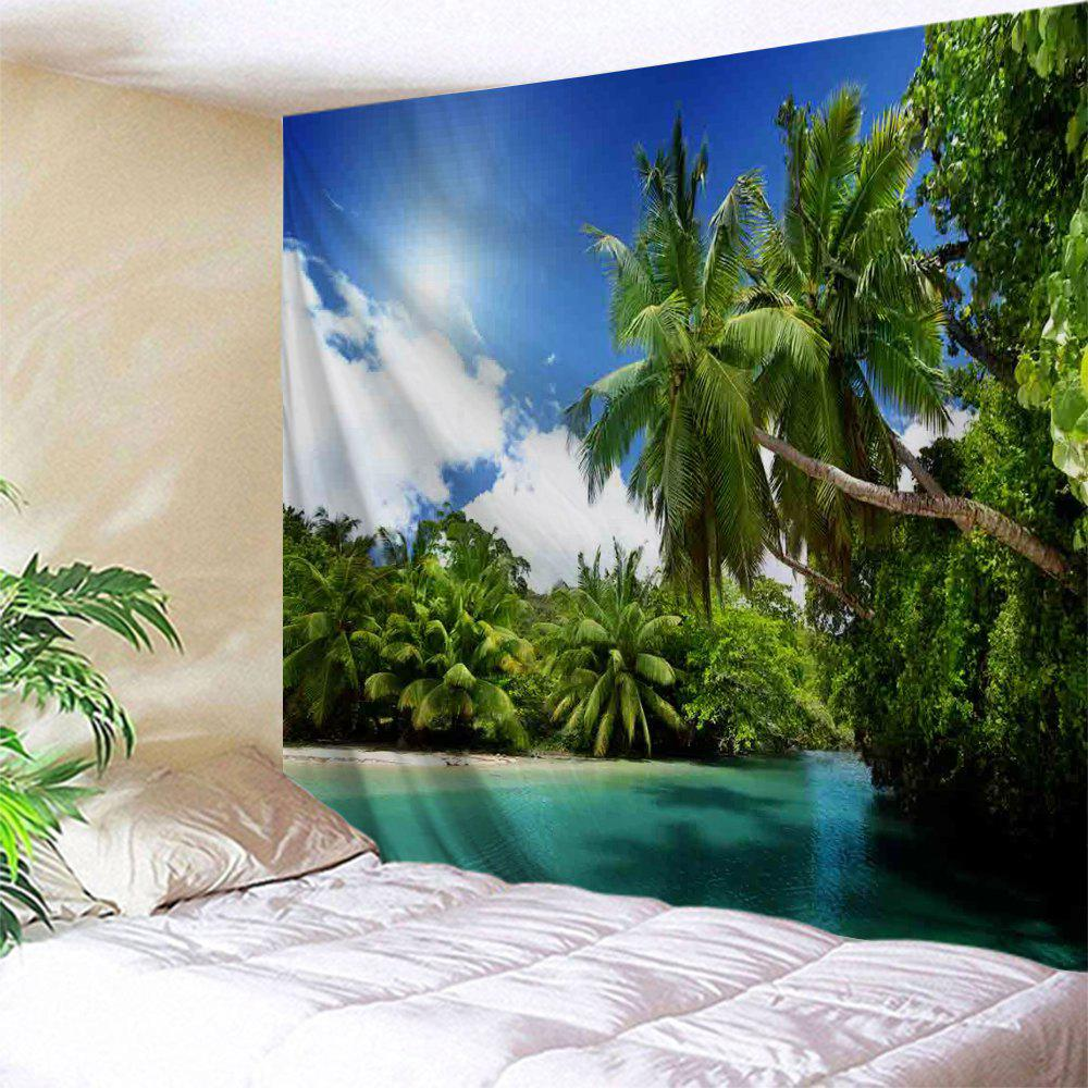 Coconut Tree Water Print Tapestry Wall Hanging Art DecorationHOME<br><br>Size: W71 INCH * L91 INCH; Color: GREEN; Style: Natural; Theme: Landscape; Material: Polyester; Feature: Washable; Shape/Pattern: Plant; Weight: 0.4000kg; Package Contents: 1 x Tapestry;