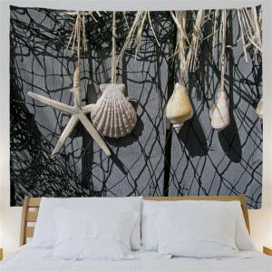 Fishing Net Conch Print Wall Art Hanging Tapestry -
