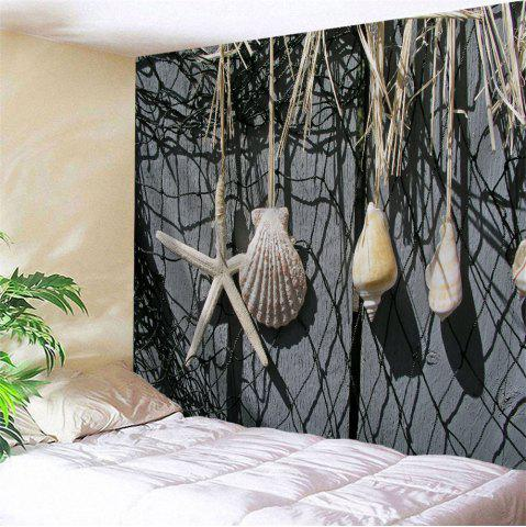 Online Fishing Net Conch Print Wall Art Hanging Tapestry