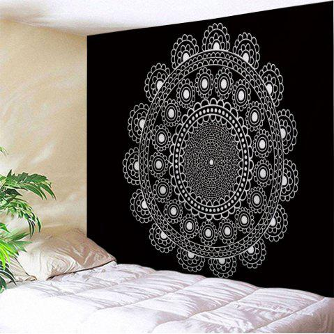 Wall Decor Polyester Fabric Mandala Tapestry - Black White - W71 Inch * L91 Inch
