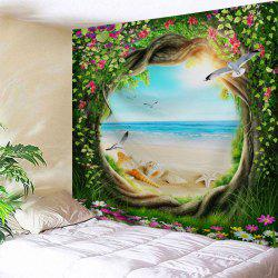 Fairy Tree Beach Scenery Décoration murale Tapisserie -