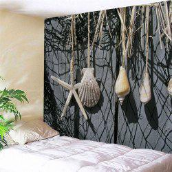 Fish Net Conch Print Wall Art Hanging Tapestry -