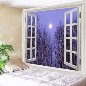 Window Moon Forest Print Tapestry Wall Hanging Art Decoration - Purple - W79 Inch * L59 Inch