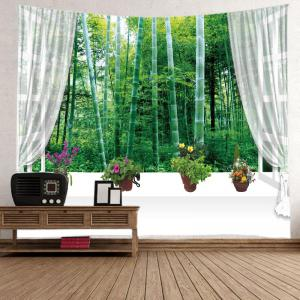 Window Bamboo Forest Print Tapestry Wall Hanging Art Decoration -