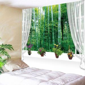 Window Bamboo Forest Print Tapestry Wall Hanging Art Decoration