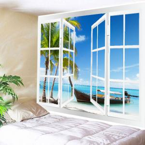 Window Boat Beach Print Tapestry Wall Hanging Art Decoration