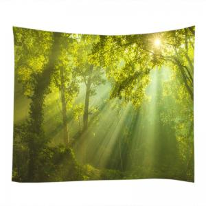 Sunlight Forest Print Tapestry Wall Hanging Decoration - Vert