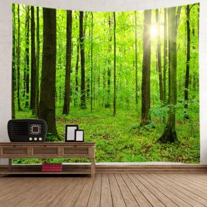 Sun Forest Print Tapestry Wall Hanging Decoration - GREEN W79 INCH * L71 INCH