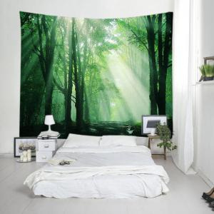 Sunlight Forest Path Print Tapestry Wall Hanging Art Decoration - GREEN W79 INCH * L71 INCH