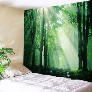 Sunlight Forest Path Print Tapestry Wall Hanging Art Decoration - Green - W91 Inch * L71 Inch