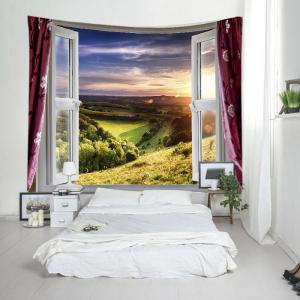 Window Nature View Print Tapestry Wall Hanging Art Decoration -