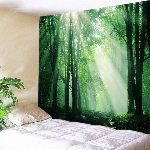 Cheap Sunlight Forest Path Print Tapestry Wall Hanging Art Decoration GREEN W91 INCH * L71 INCH