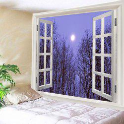 Window Moon Forest Print Tapestry Wall Hanging Art Decoration