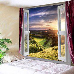 Fenêtre Nature View Print Tapestry Wall Hanging Art Décoration - Vert