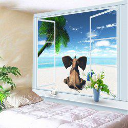 Window Beach Elephant Print Tapestry Wall Hanging Art Decoration