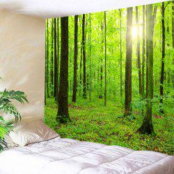 Sun Forest Print Tapestry Wall Hanging Decoration - Vert