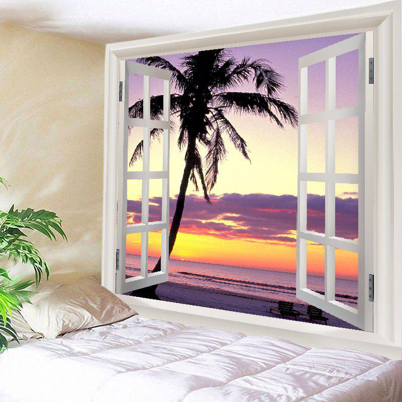 Window Sunset Beach Print Tapestry Wall Hanging Art DecorationHOME<br><br>Size: W59 INCH * L59 INCH; Color: COLORMIX; Style: Beach Style; Theme: Landscape; Material: Polyester; Feature: Washable; Shape/Pattern: Plant,Window; Weight: 0.4500kg; Package Contents: 1 x Tapestry;