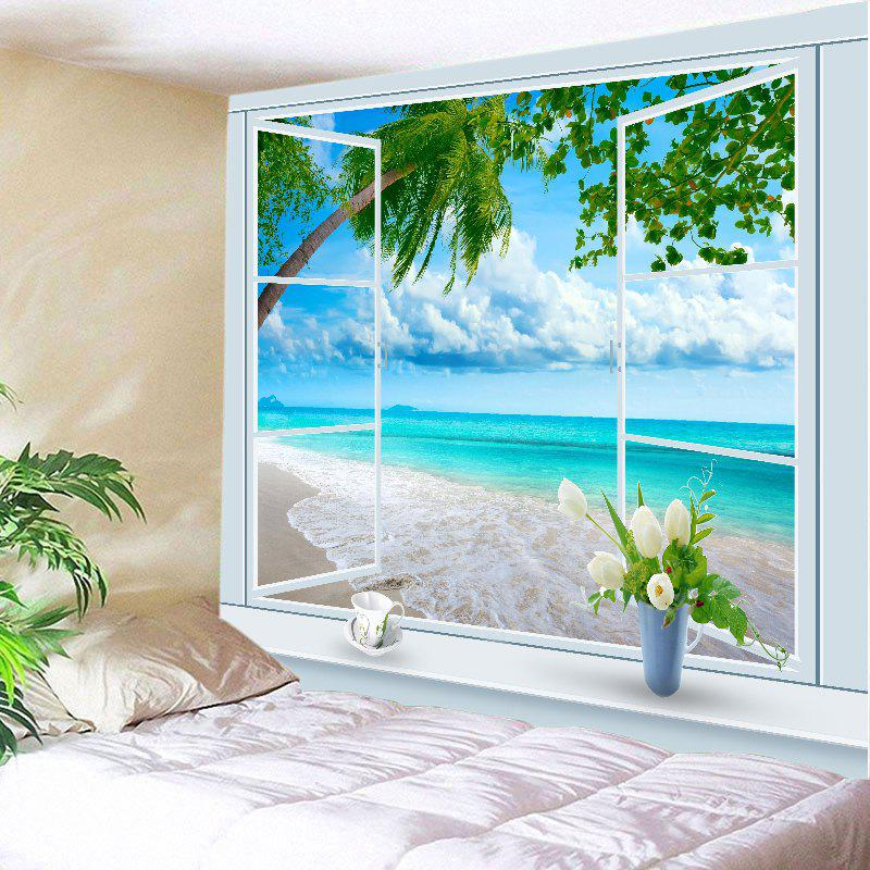 Window Tree Beach Print Tapestry Wall Hanging Art DecorationHOME<br><br>Size: W79 INCH * L59 INCH; Color: LAKE BLUE; Style: Beach Style; Theme: Beach Theme; Material: Polyester; Feature: Washable; Shape/Pattern: Plant,Window; Weight: 0.4500kg; Package Contents: 1 x Tapestry;