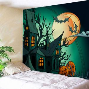 Halloween Party Fabric Decorative Wall Tapestry - Deep Green - W71 Inch * L91 Inch