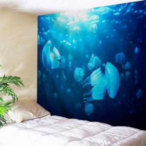 Ocean Jellyfish Printed Throw Wall Art Tapestry - Blue - W71 Inch * L91 Inch