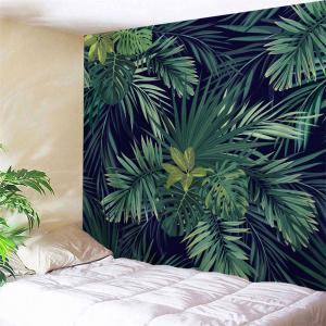 Wall Art Hanging Palm Plants Print Tapestry - Dark Green - W71 Inch * L79 Inch