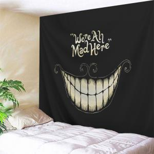 Wall Blanket Halloween Funny Smile Printed Tapestry - Black - W59 Inch * L59 Inch