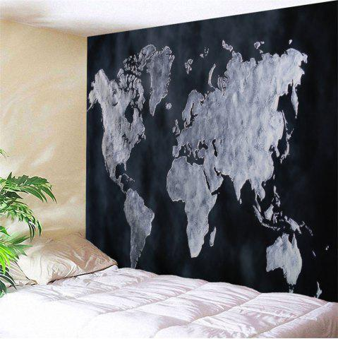 World Map Design Wall Tapestry For Home Decoration - Black - W51 Inch * L59 Inch