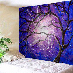Tree Branch Print Tapestry Wall Hanging Art Décoration - Bleu + Violet Largeur51pouces*Longeur59pouces